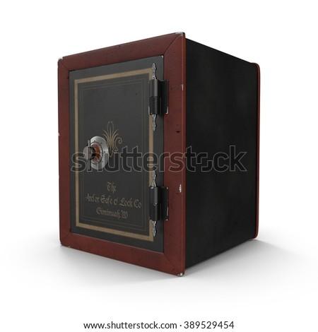 Antique closed iron safe isolated on white - stock photo