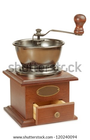 Antique coffee grinder with open box for ground coffee - stock photo