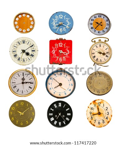 antique colorful clock dial collection isolated on white - stock photo