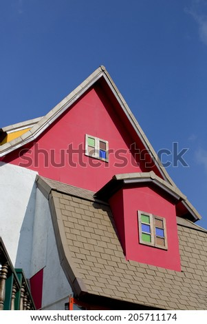 antique colorful roof windows collection - stock photo