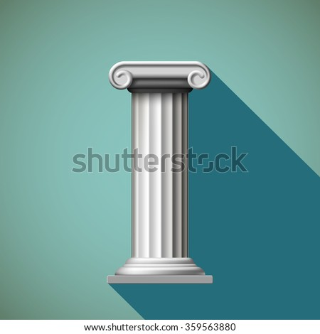 Antique column. Flat design. Stock illustration.