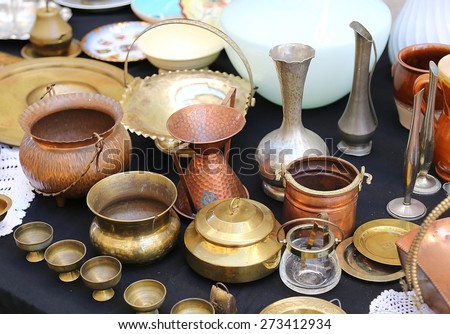 antique copper pots precious and vintage furnishings for sale in the antique shop - stock photo
