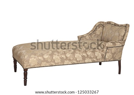 Antique couch, from Victorian era, isolated on white background