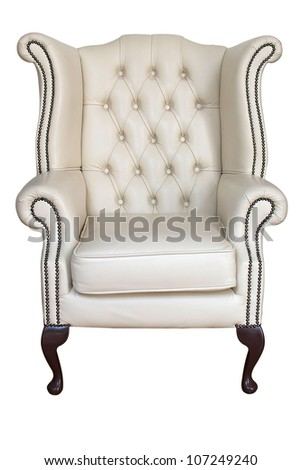 antique cream leather armchair isolated on white with clipping path - stock photo