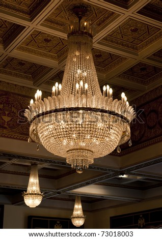 Antique crystal chandelier - stock photo