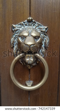 Antique Decorative Door Knockers In The Shape Of Lion Head On Old Wooden  Door From Italy