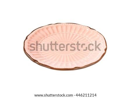 Antique decorative pink dessert plate - stock photo