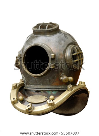 Antique diving equipment isolated with clipping path on white background - stock photo