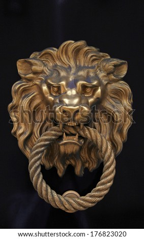 antique door knob in the shape of brass lion on brown wood background - stock photo