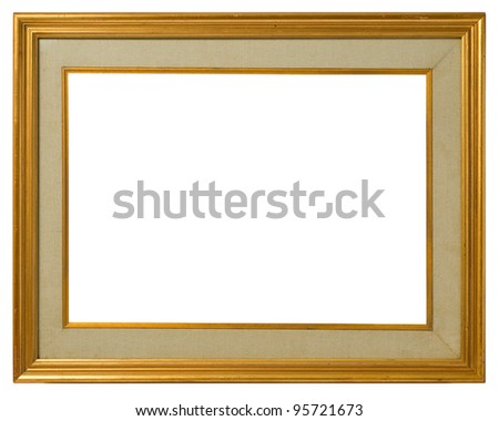 Antique double frame: gilded wood and canvas, italian style,  isolated on white background - include clipping path. - stock photo