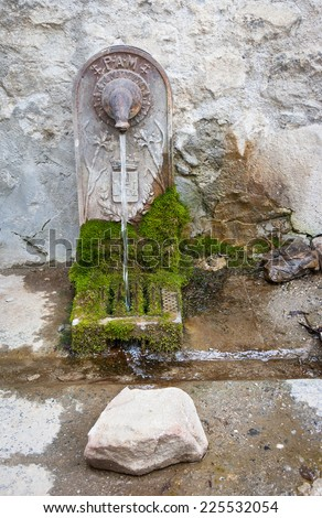Antique drinking fountain decorated with lily flowers (French royal symbol) in medieval village Colmars (Alpes-de-Haute-Provence, France).  - stock photo