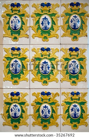 Antique dutch tiles 17th century from Russian prince Dimitry's house - stock photo