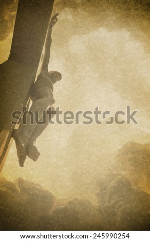 Antique Easter photo background illustration with linen textures and Jesus Christ on the Cross faded into the background. - stock photo