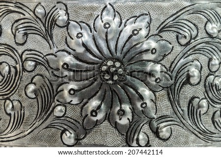 antique engraved silver, may be used as decoration thailand for background - stock photo