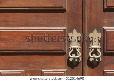 Antique entrance wooden classic doors with metallic locks. Horizontal format