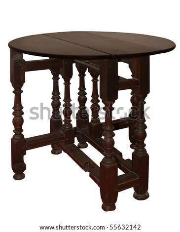 Antique Extension Table isolated with clipping path - stock photo