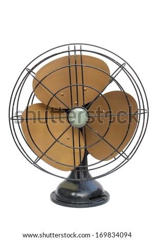 Antique fan with copper blades isolated on white background - stock photo