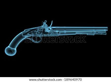 Antique fire-arm pistol x-ray blue transparent isolated on black