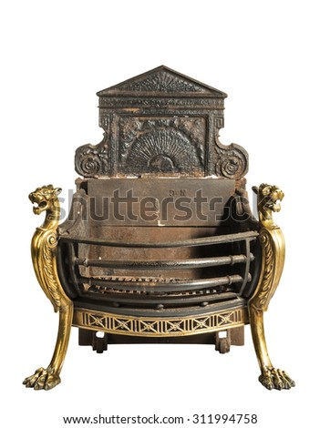 Antique fireplace grate with large back plate and brass decoration victorian for medium fire places isolated on white - stock photo