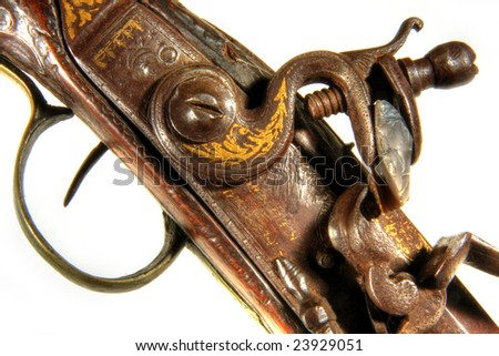 Antique flintlock blunderbuss pistol detail, on white