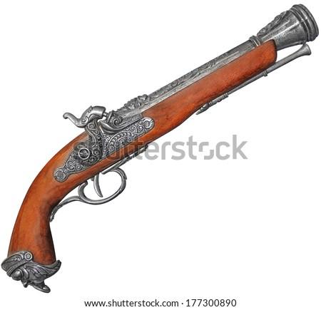 Antique flintlock blunderbuss pistol isolated on white background - stock photo