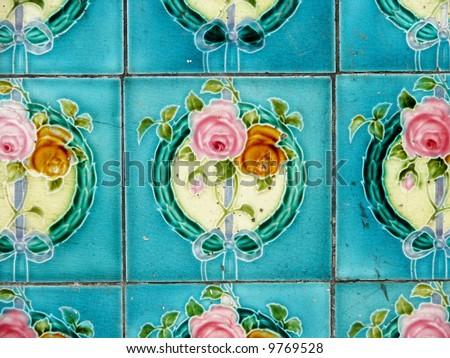 Antique flowers tile - stock photo