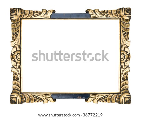 antique frame art-nouveau, vintage item isolated on white background, free picture space - stock photo
