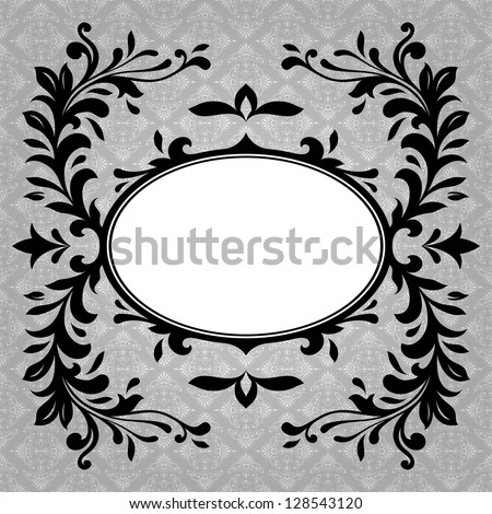 Antique frame border on a grey background - stock photo