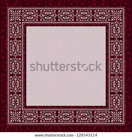 Antique frame border on a red background - stock photo