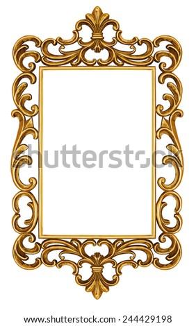 Antique frame isolated on white  - stock photo