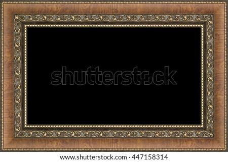 antique frame on black background - stock photo