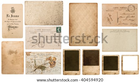 Antique french paper carte de visite, postcard carte postale, paper photo frame cardboard. Paper background. Paper texture. Old paper. Vintage postcard. paper isolated - stock photo