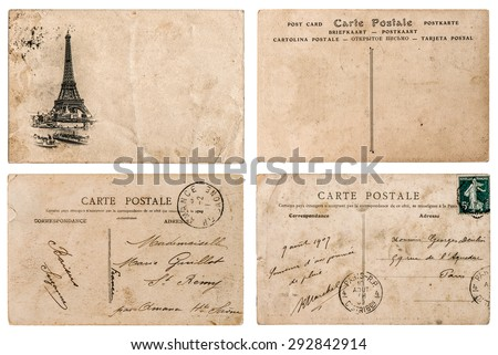 Antique french postcard  with stamp from Paris. Nostalgic retro style paper background. Scrapbook elements.  - stock photo