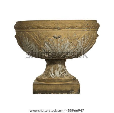 Antique Garden Urn For Wall Decorated Made From Terracotta Isolated On  White With Clipping Path