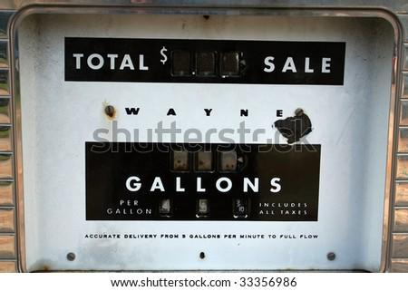 Antique Gas Pump Closeup - stock photo