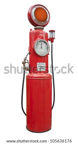 antique gas pump in red, isolated