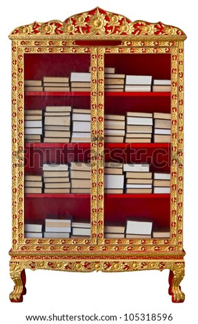 Antique gilded cabinet with Buddhist Meditation Books isolated on white