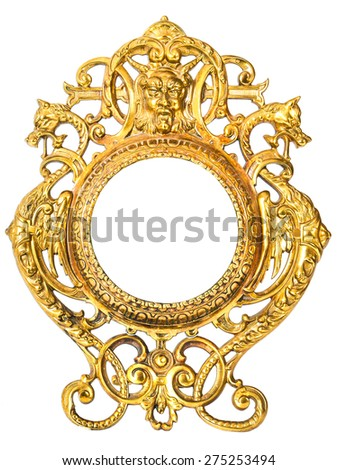 Antique gilded frame for a mirror on a white background