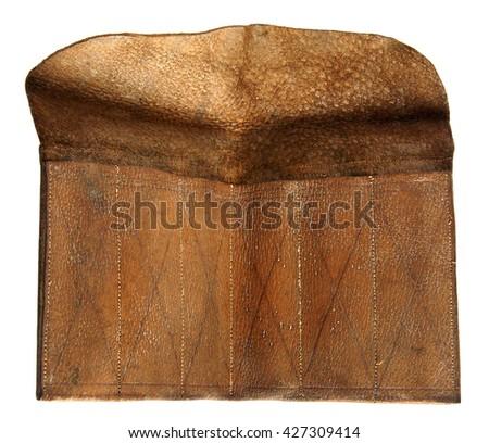Antique ginger leather case isolated on white background  - stock photo