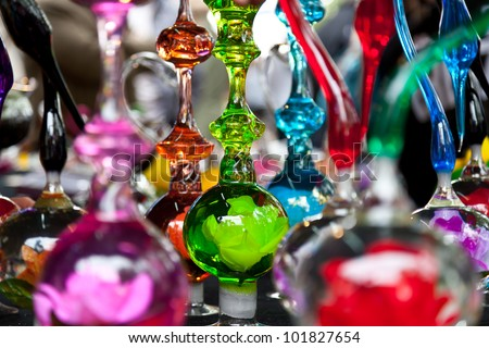 Antique Glass Figures Background - stock photo