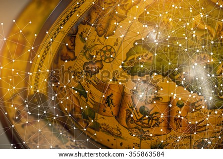 Antique Globes with connection line - stock photo