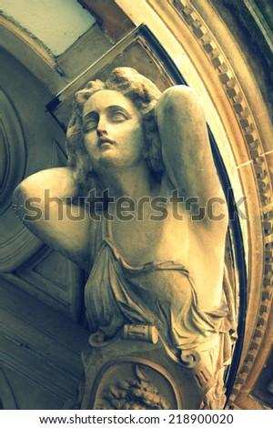 antique goddess sculpture - stock photo