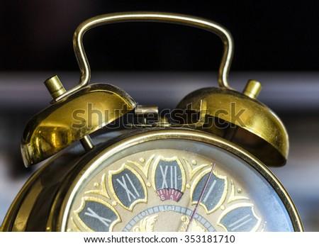 antique gold clock - stock photo
