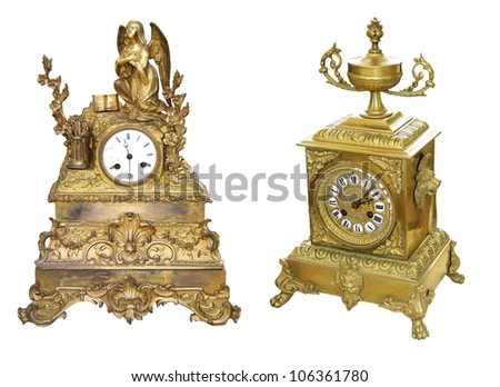 Antique gold colored table clocks