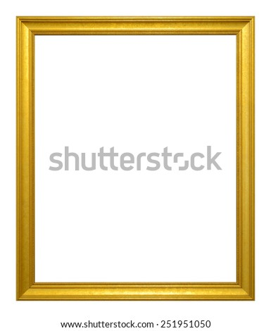Antique gold frame  isolated on the white background - stock photo