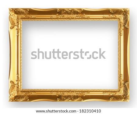 Antique gold frame isolated on white background - stock photo