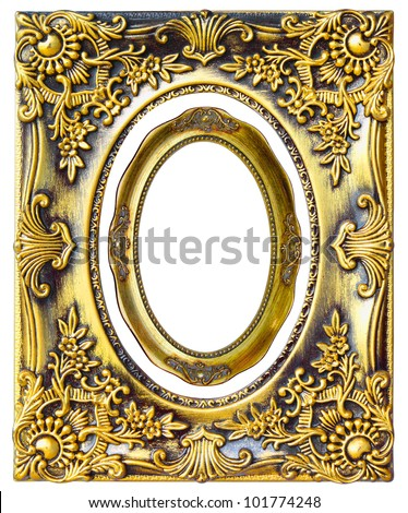 Antique gold frame on the white background - stock photo