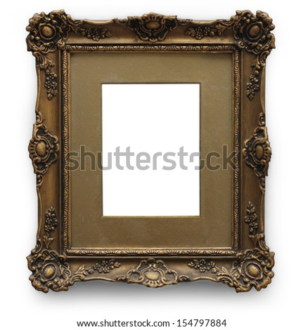 Antique gold picture frame isolated with clipping path - stock photo