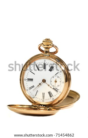 Antique gold pocket watch with diamonds - stock photo