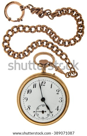 Antique gold watch a chain on a white background.